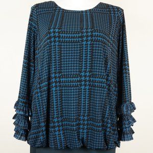 Philosophy Blouse Blue Black Houndstooth Ruffle